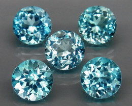 5Pcs/12.08Ct. / 8.0 mm Natural Top Quality Swiss Blue Topaz Brazil