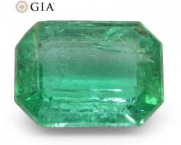 1.84ct Octagonal/Emerald Cut Emerald GIA Certified Zambian