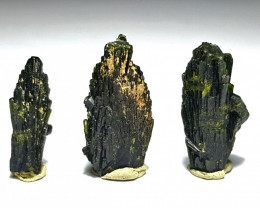 Amazing Natural color Damage free tree Shape lovely Epidote 3 crystals 46.8
