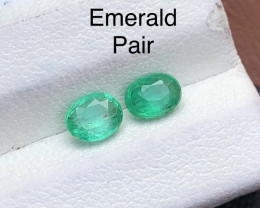 Attractive 0.65 ct Deep Color Panjshir Emerald Pair For Jewlery