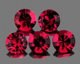 3.50 mm Round 5 pcs 1.05ct Pinkish Red Spinel [VVS]