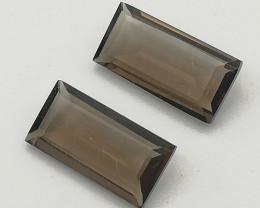 Smoky Quartz pair, 2.49ct, good matching perfect cut pair!