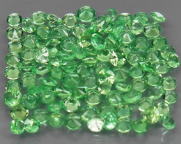 114Pcs/4.68 Ct Diamond Cut 2.0 mm.Best Color Natural Tsavorite Garnet