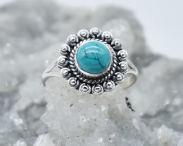 TURQUOISE RING 925 STERLING SILVER NATURAL GEMSTONE JR1077