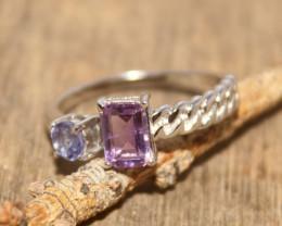 Natural Amethyst & Tanzanite 925 Silver Ring 474