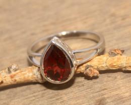 Natural Garnet 925 Silver Ring 444