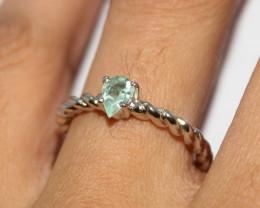 Natural Aquamarine 925 Silver Ring 452