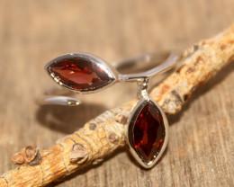 Natural Garnet 925 Silver Ring 467