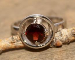 Natural Garnet 925 Silver Ring 424
