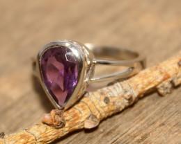 Natural Amethyst 925 Silver Ring 482