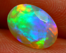 2.11Ct Bright Neon Rainbow Flash Color Play Faceted Welo Opal B1356