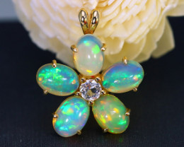 Welo Opal 2.75Ct 5Pcs Pendant 10K Gold VS Diamond C2501