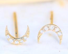 Moon Design Natural Diamond D VVS 14K Yellow Gold Earring C2502