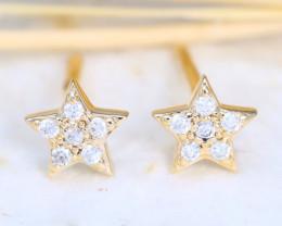 Star Design Natural Diamond D VVS 14K Yellow Gold Earring C2503