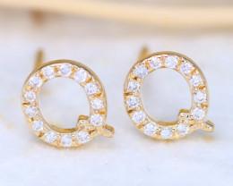 Initial Earrings Alphabet Letter Q 14K Yellow Gold Earrings C2505