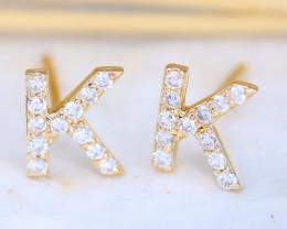 Initial Earrings Alphabet Letter K 14K Yellow Gold Earrings C2507