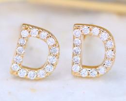 Initial Earrings Alphabet Letter D 14K Yellow Gold Earrings C2509