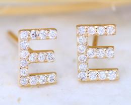 Initial Earrings Alphabet Letter E 14K Yellow Gold Earrings C2510