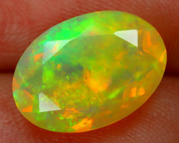 2.17Ct Bright Neon Rainbow Flash Color Play Faceted Welo Opal B1374