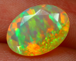 1.21Ct Bright Neon Rainbow Flash Color Play Faceted Welo Opal B1376