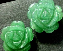 PAIR ADVENTURINE FLOWER CARVINGS -drilled 15.05 CTS [MX4196]
