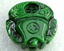 215cts Stunning Namibia Malachite Carving Drilled DC73