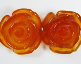 PAIR NATURAL FLOWER CARVING AGATE STONES 23.70 CTS AAT 343