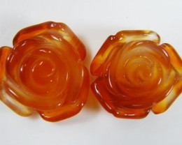 PAIR NATURAL FLOWER CARVING AGATE STONES 23.5 CTS AAT 351
