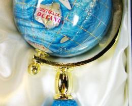 GEMSTONE GLOBE  PACIFIC BLUE 8  CM/HT 6.5INCHES  TW1046