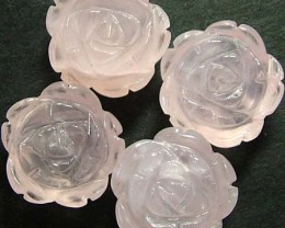 FOUR ROSE QUARTZ FLOWER CARVINGS DRILLED  48.90 CTS [MX4237]