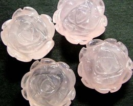 FOUR ROSE QUARTZ FLOWER CARVINGS DRILLED  47.80 CTS [MX4244]