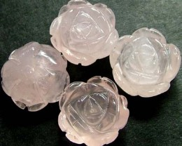 FOUR ROSE QUARTZ FLOWER CARVINGS DRILLED  47.20 CTS [MX4248]