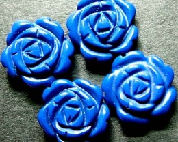 PARCEL  LAPIS FLOWER CARVINGS  DRILLED 16.00 CTS [MX4263]