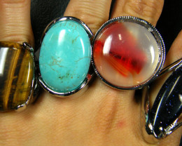 RESELLERS  DEAL 8 LARGE NATURAL GEMSTONE RINGS  AAT640