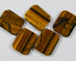 PARCEL OF FIVE15X12X2 TIGER EYE CARATS 19.55 AAT 666