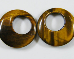 PAIR OF TWO 20X20X4 TIGER EYE CARATS 18.70 AAT 681