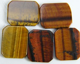 PARCEL OF 5 SQUARE 14X12X2 TIGER EYE CARATS 19.30 AAT 692