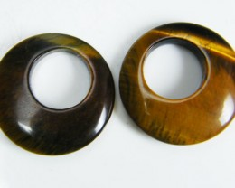 PAIR OF TWO  20X20X4 TIGER EYE CARATS 18.45 AAT 699
