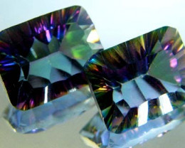PAIR 'GALAXY' MYSTIC QUARTZ 21.10 CTS [TS 290]