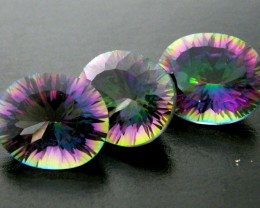 PARCEL 3 PC MYSTIC QUARTZ  VVS  FACETED 13.50 CTS  GTT 620