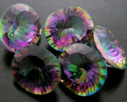PARCEL 5 PC MYSTIC QUARTZ  VVS  FACETED 22.40 CTS  GTT 633