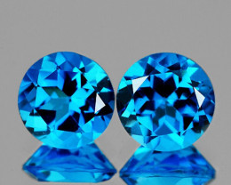 6.00 mm Round 2 pcs 1.75cts Swiss Blue Topaz [VVS]