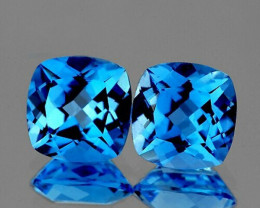 8.00 mm Cushion 2 pcs 5.30cts Swiss Blue Topaz [VVS]