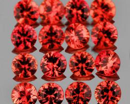 1.70 mm Round 30 pcs 0.93ct Reddish Orange Sapphire [VVS]