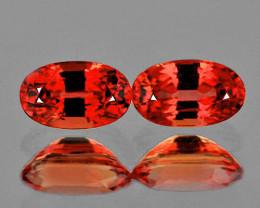 5x3 mm Oval 2 pcs 0.58ct Reddish Orange Sapphire [VVS]