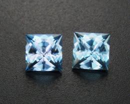 Pair Blue Topaz 1.83 ct Custom Cut Topaz Gemstone