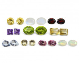 10 Pairs Gems: Pink Tourmaline, Peridot, Amethyst, Heliodor, Opal+ -$1 No R