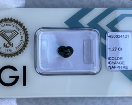 1.27ct Colour Change Sapphire Green Blue IGI CERTIFIED Heart Cut Loose Gems