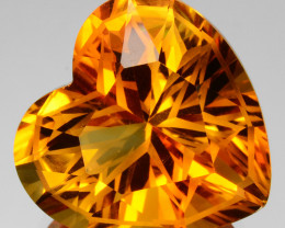 ~CUSTOM CUT~ 8.83 Cts Natural Golden Orange Citrine 14mm Fancy Heart Brazil