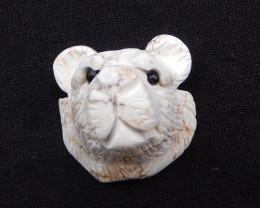 187cts Carve Bear. Howlite Bear Pendant. Customized Gift. Gemstone Craft H1